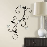 Scroll Sconce With Butterfly Mirror Wall Decals