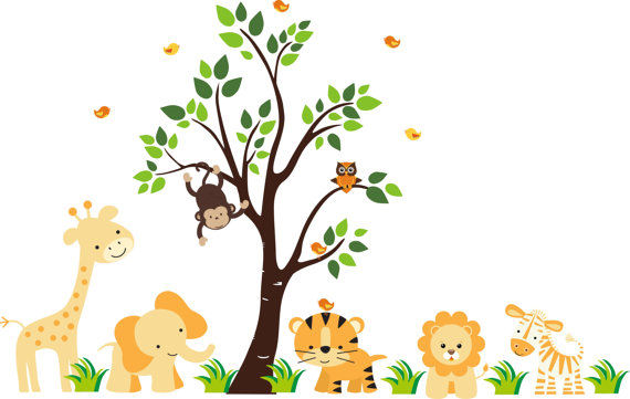 Baby Girl Nursery Removable Wallpaper Sunshine Jungle Wall Mural Stickers