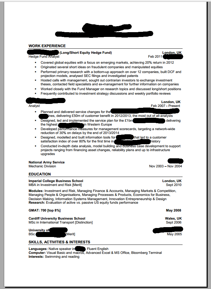 My CV for hedge fund analyst jobs - please review