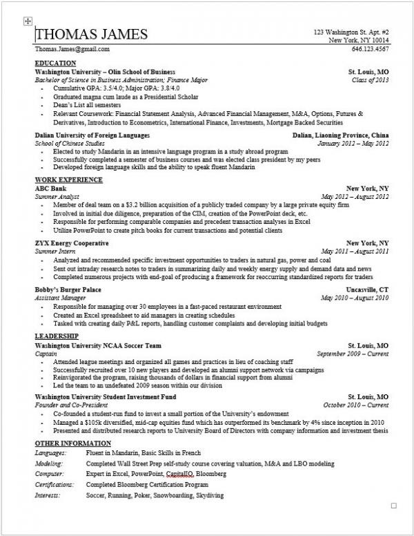 Private Equity Resume Template Wall Street Oasis