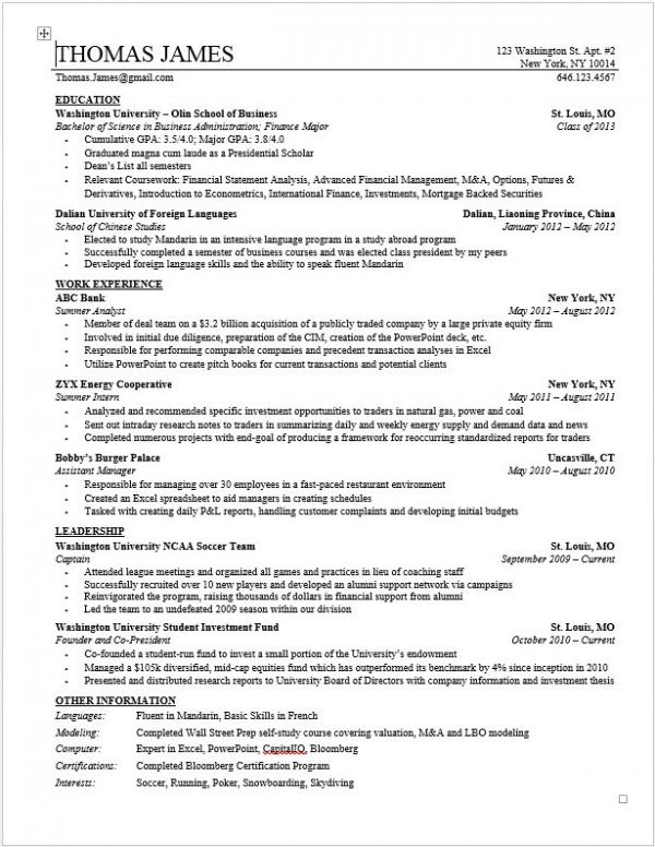 Investment Banking Resume Template Wall Street Oasis - investment banking analyst sample resume