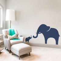 Mama and Baby Elephant Wall Decal