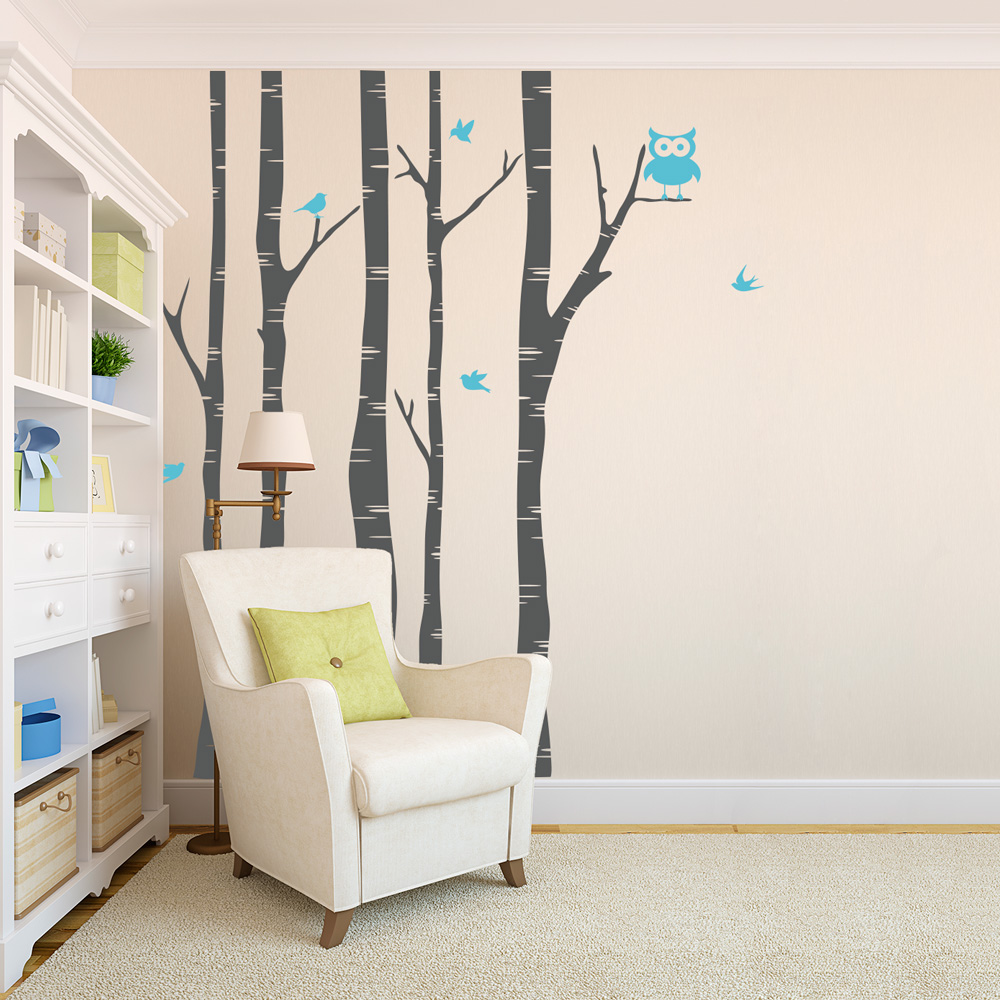 Wild birch forest with owls vinyl wall decal -  Birch Trees With Owl And Birds Wall Decal Download