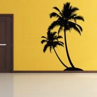 Dual Palm Tree Island Wall Decal Sticker