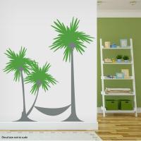 Palm Tree Hammock Wall Decal Sticker