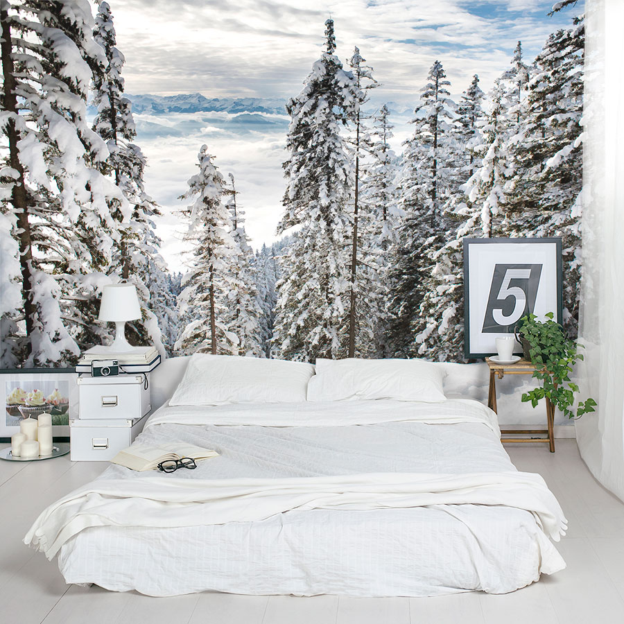 3d Wallpaper For Bedroom Walls Alps Winter Forest Wall Mural