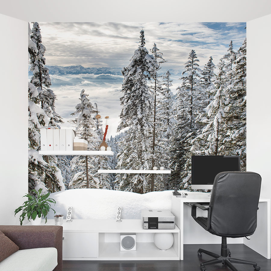 Wallpaper On Bedroom Wall Quotes Alps Winter Forest Wall Mural