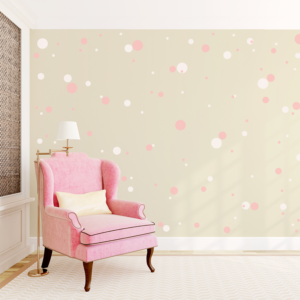 Baby Girl Wallpaper Pink 2 Color Polka Dots Wall Decal
