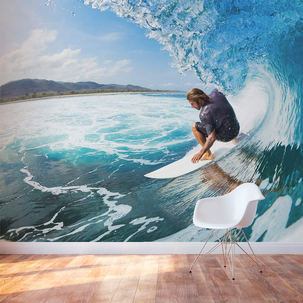 3d Wallpaper For Kitchen Surfing Wall Mural Surfing Wall Decal Wallums