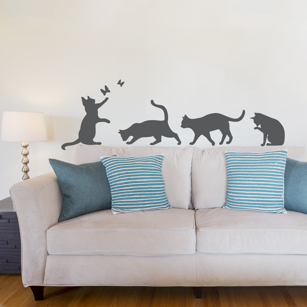 Cute Dog Stretching Wallpaper Cat Wall Decals Home Decor