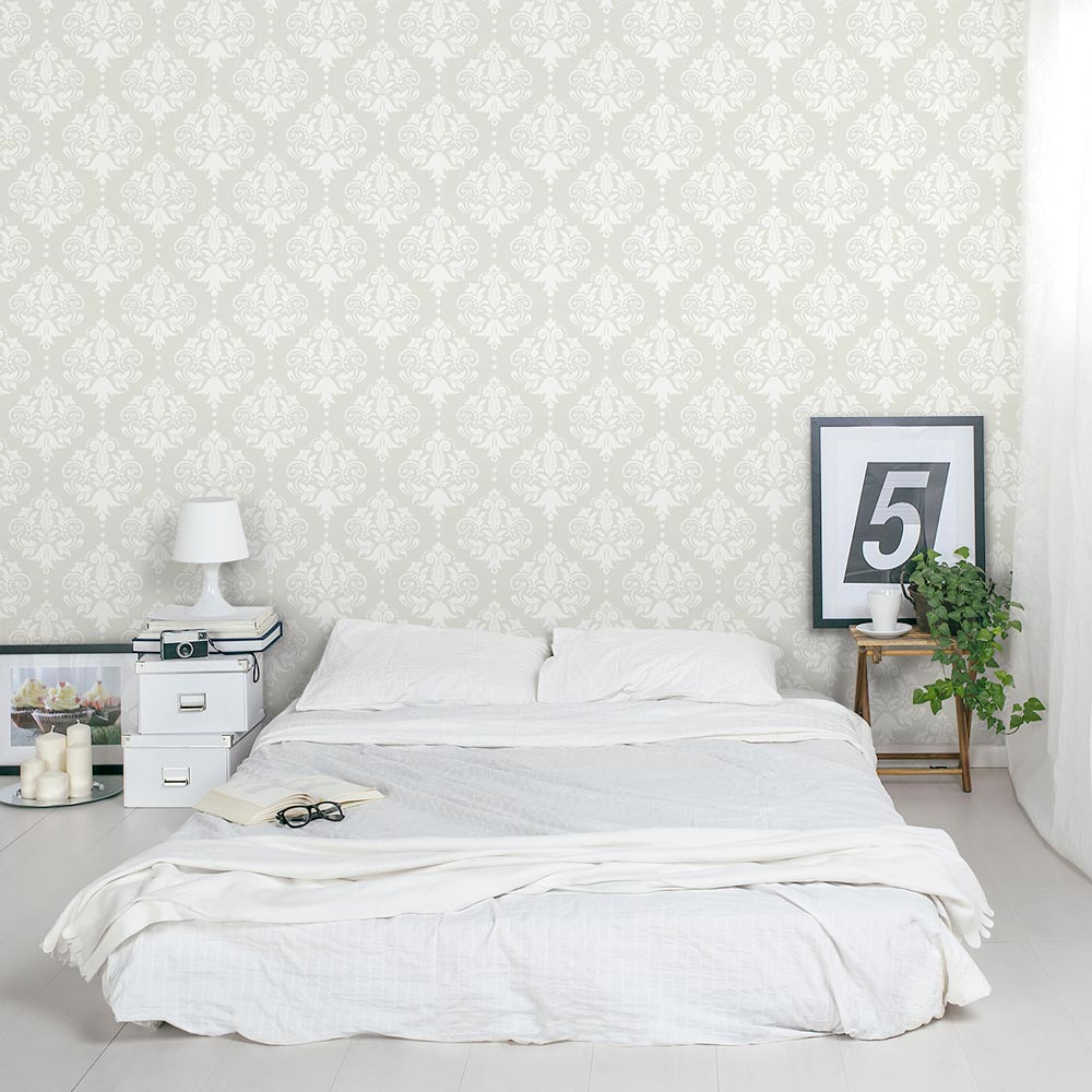 Wallpaper On Bedroom Wall Quotes Damask Removable Wallpaper Tile