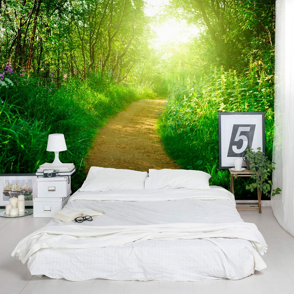 Wallpaper On Bedroom Wall Quotes Nature S Path Wall Mural
