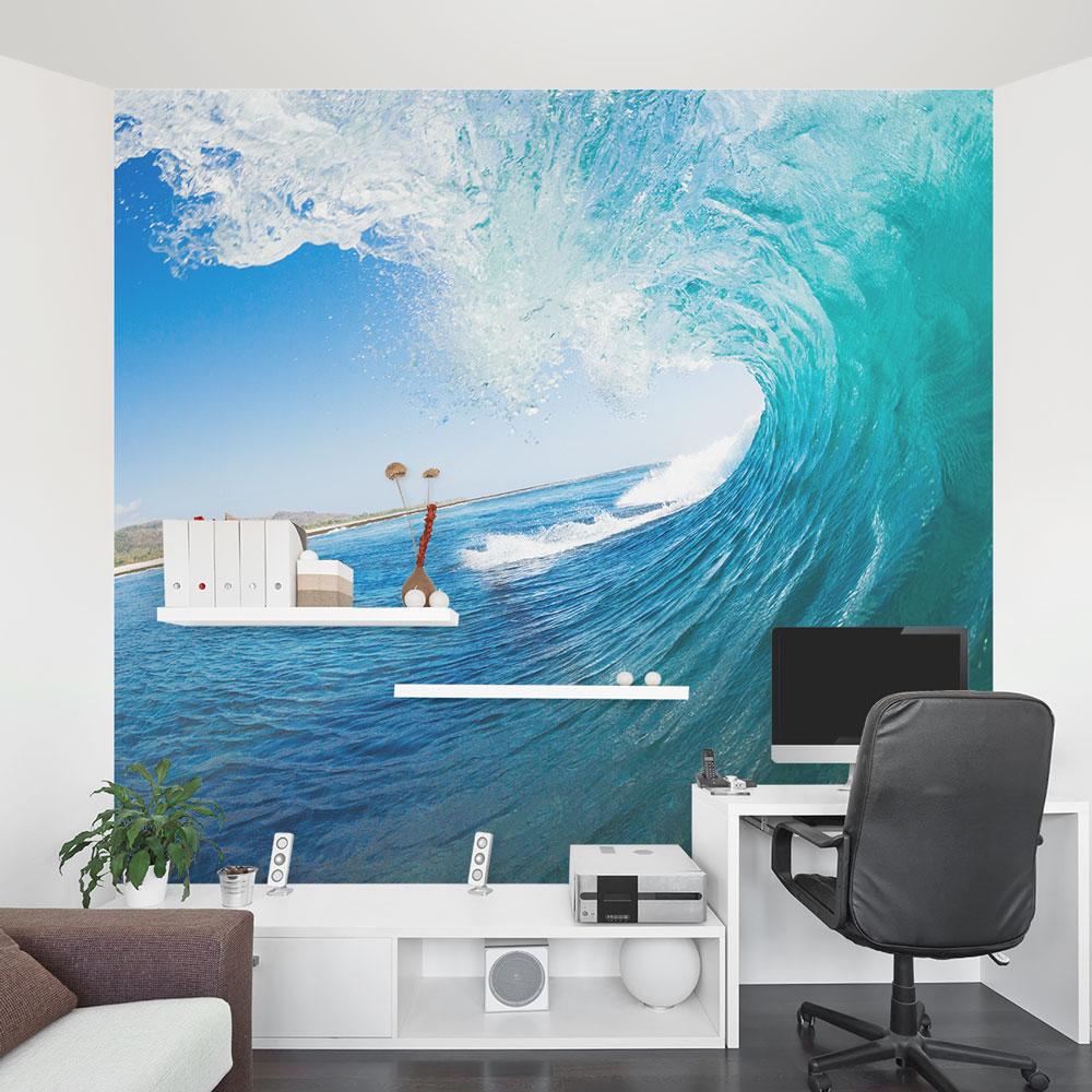 Peel And Stick 3d Wall Panels White Brick Wallpaper Ocean Wave Wall Mural Ocean Wallpaper Mural Wallums