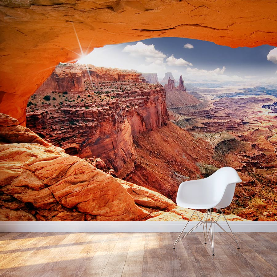 3d Wallpaper For Bedroom Walls Cave View Monument Valley Wall Mural