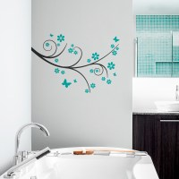 Butterfly Flower Wall Decal | Blossom Branch Wall Sticker