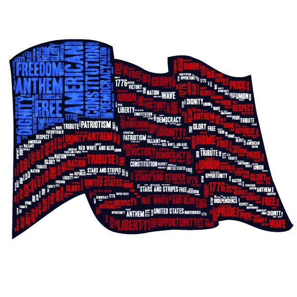 American Flag Word Cloud - word flag