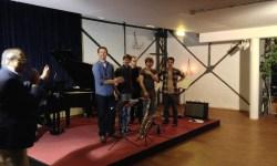 Gastgeber Ed Werner mit The Wall: Heinrich Fries (Sax), Torben Schug (Bass), Friedeman Dietmar (Piano) Moritz Baranczyk (Drums), Rafael Krohn (Gitarre)