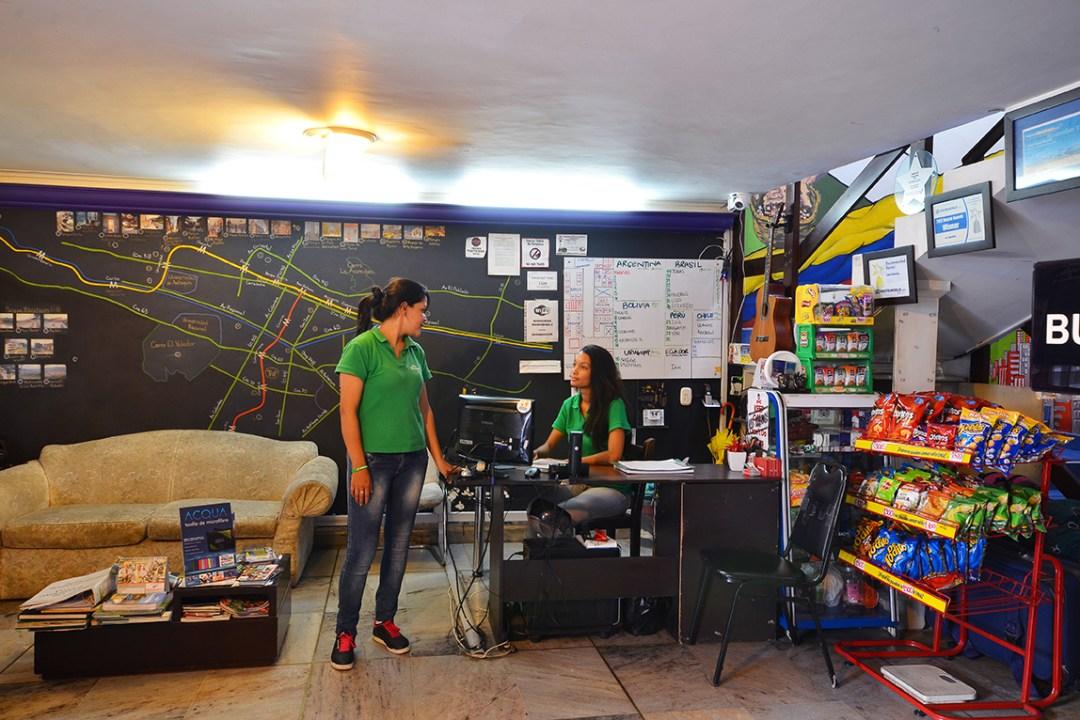 Reception hostel in medellin