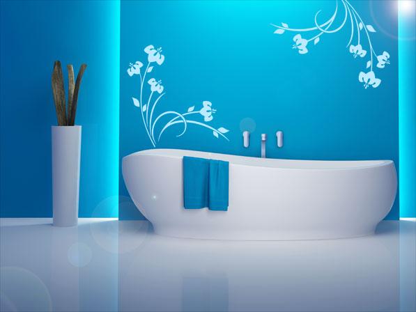 Das Blau ♥ und die Idee mitder Badewanne + Wandtattoo ♥ Home - deko für badezimmer