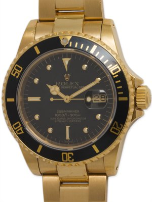 Rolex 18K YG Submariner Transitional model circa 1983
