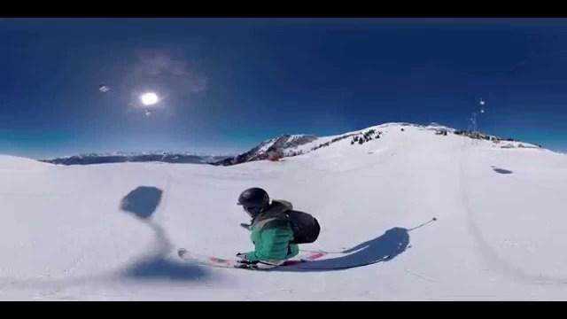 Vidéo 360 : en monoski à Crans Montana.