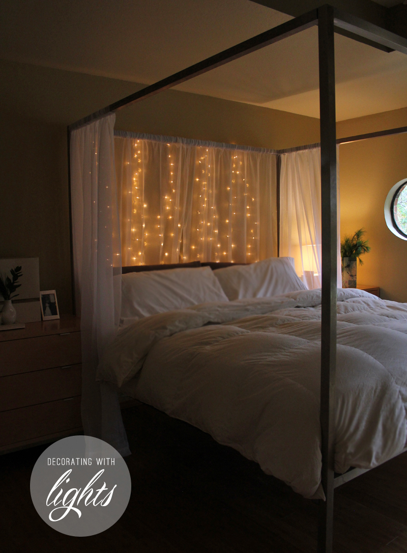 decorating with christmas lights - bedroom lights