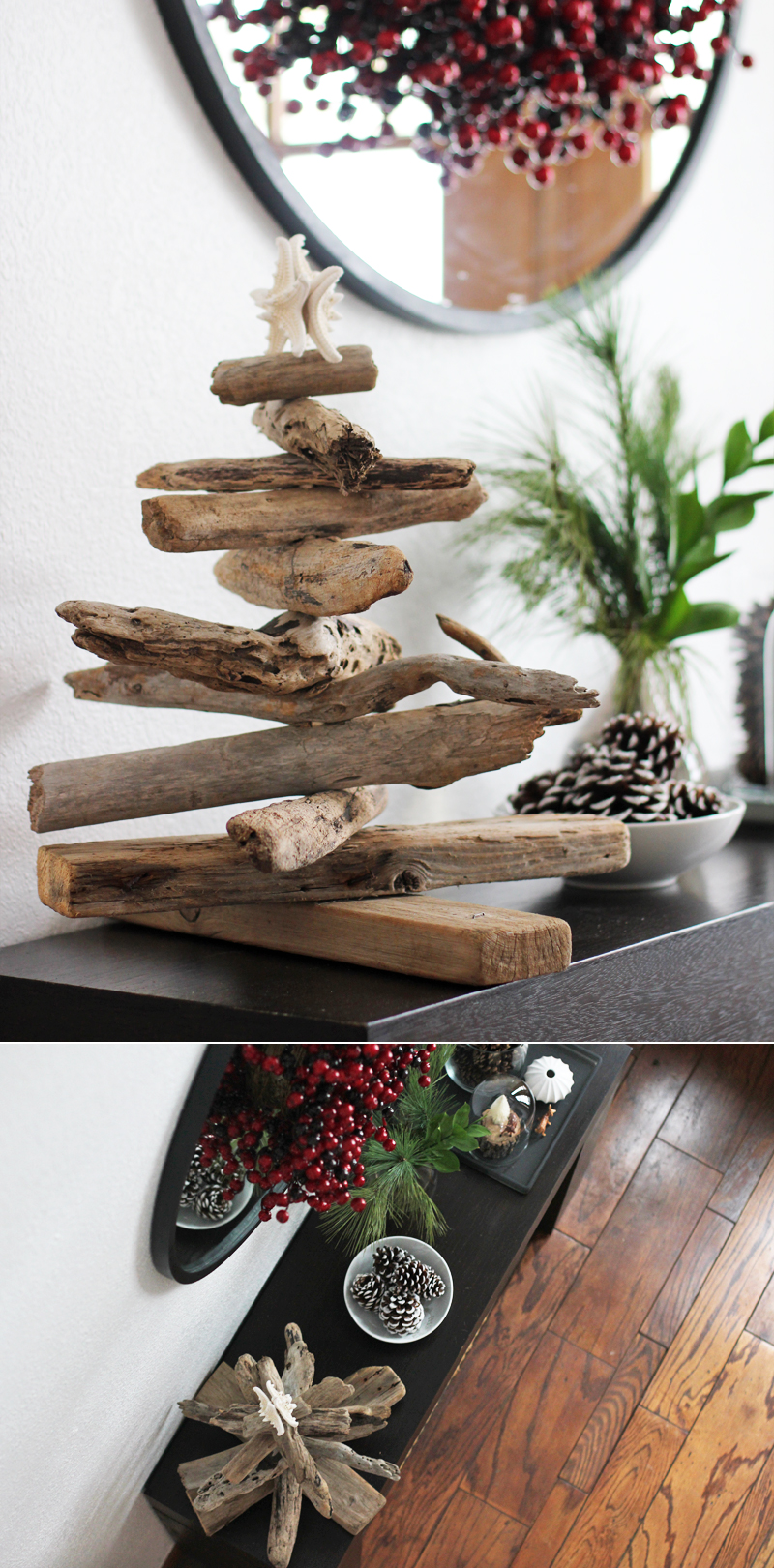 A driftwood Christmas tree in a modern rustic decor