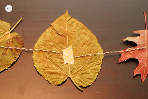DIY tutorial for creating a garland with autumn leaves