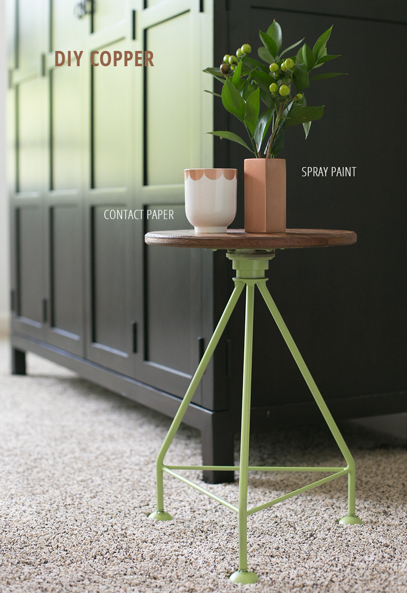 Two ways to DIY a copper look for home accessories: spray paint and contact paper.