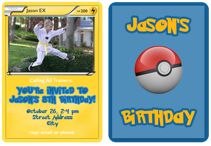 The Templates Create Pokemon Trading Card Birthday Invitations