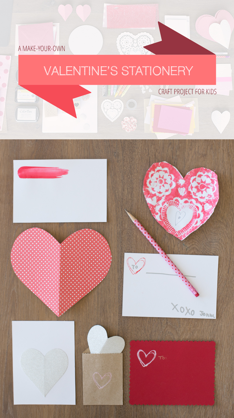 Make-your-own Valentine's craft activity: this is a great, open-ended activity for children. Just gather a bunch of craft supplies, leftover paper, etc. and get creative.