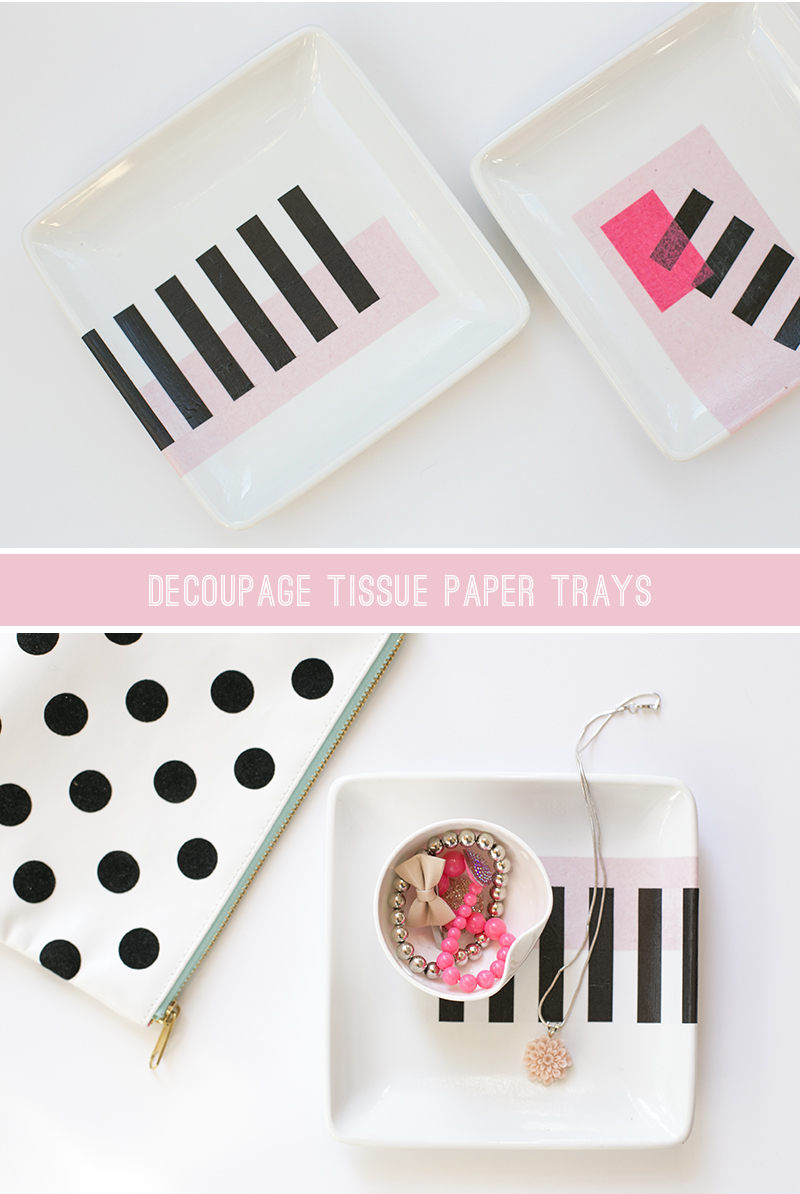 DIY Decoupage Tissue Paper Trays