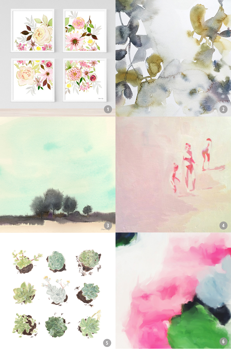 I'm designing a gallery wall for our living room.Here are my top picks for gorgeous, affordable wall art.