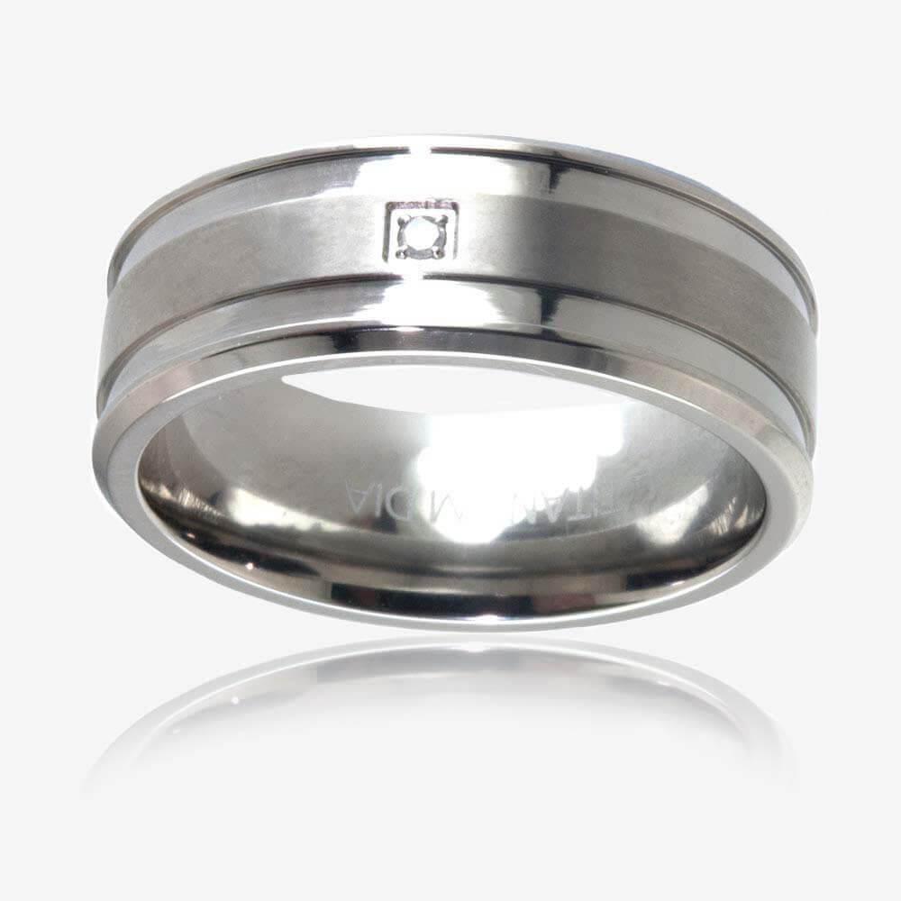 rings mens wedding ring mens Men s Titanium Diamond Band Ring