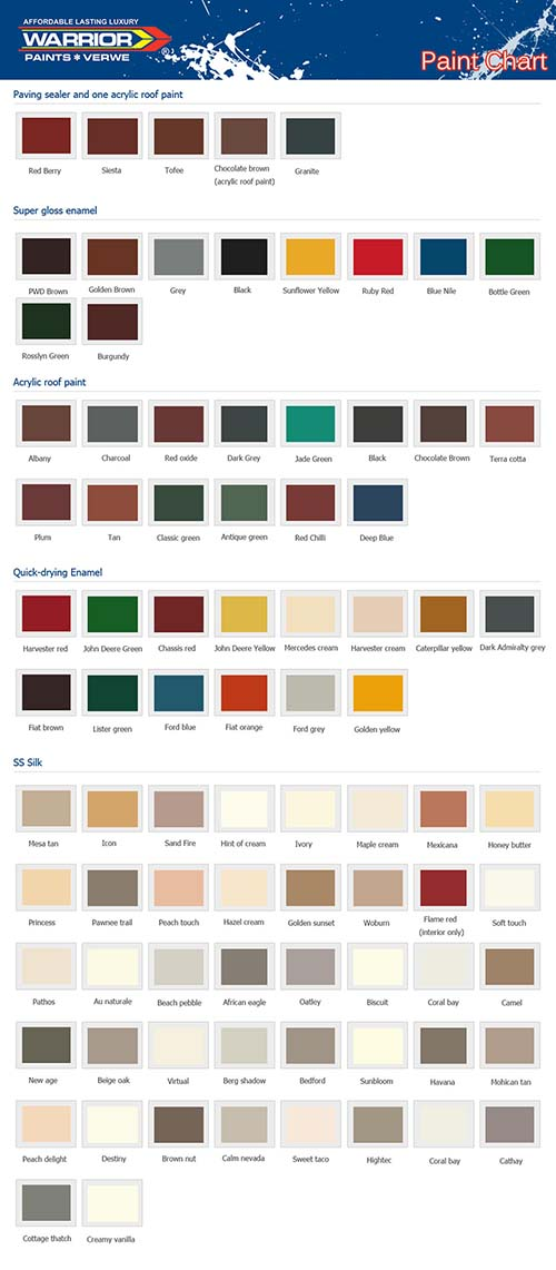 Colour chart Paint Affordable and Luxury Paints South Africa