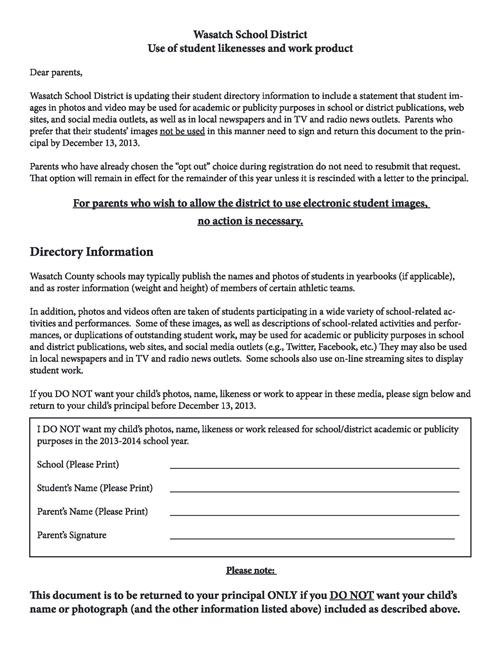 Release of Student Likeness Opt-out Forms / Release of Student