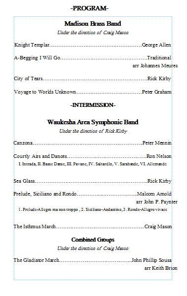 Past Concert Programs