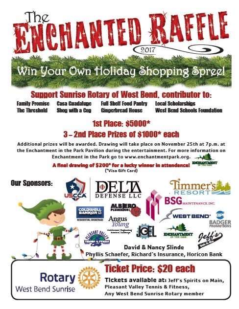 Get your Enchanted Raffle ticket today! First place prize is $5,000!