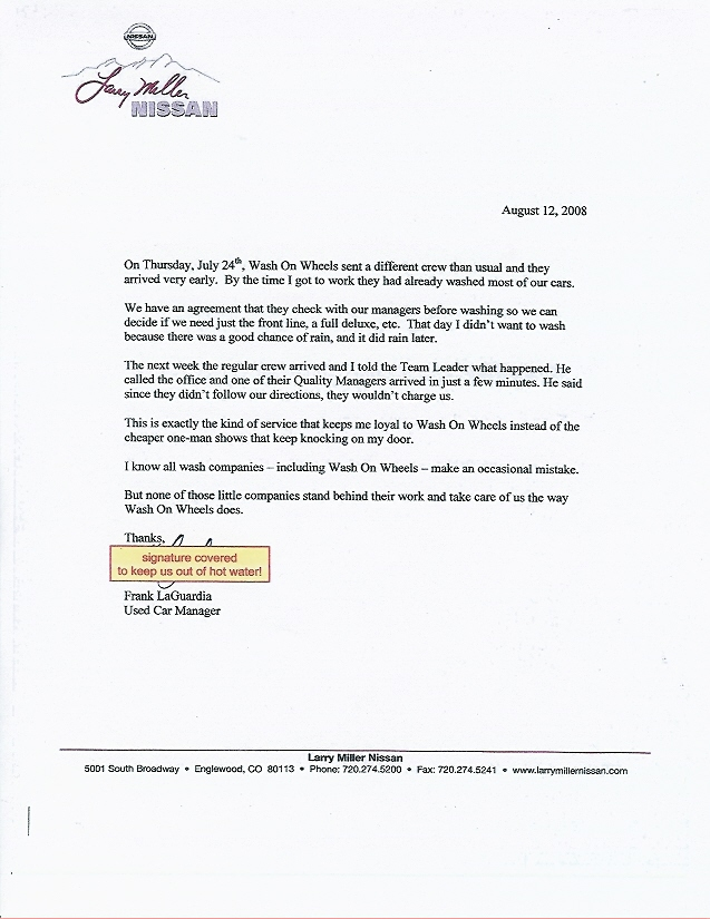 Real Endorsements from Real People Wash On Wheels - endorsement letter for employment