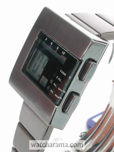 Seiko Nooka Retro LCD Black Steel