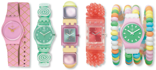 Montres Swatch Waffel, Sminty, Ginevrone, Dragee et Caramellissima