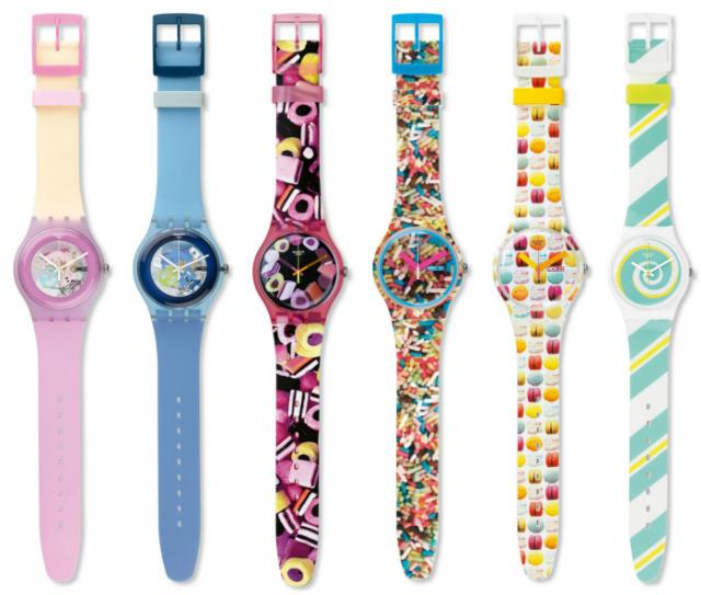 Montres Swatch Sweet Me, Cool Me, Lekker, Sprinkled, Sweet Explosion et Peppercane