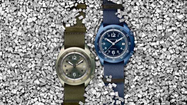 Hamilton Khaki Pilot Pioneer Aluminium en kaki et en bleu marine