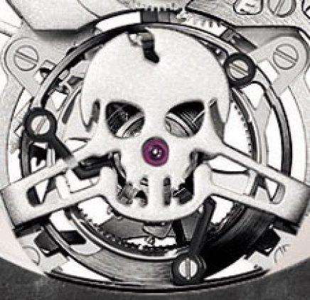 La barrette de tourbillon minute en forme de tête de mort