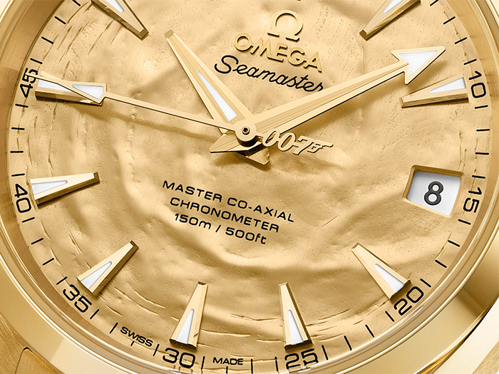 Omega Seamaster Aqua Terra Goldfinger 50th Anniversary close up