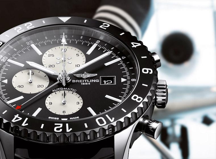 Breitling Chronoliner chronographe metal fuite avion