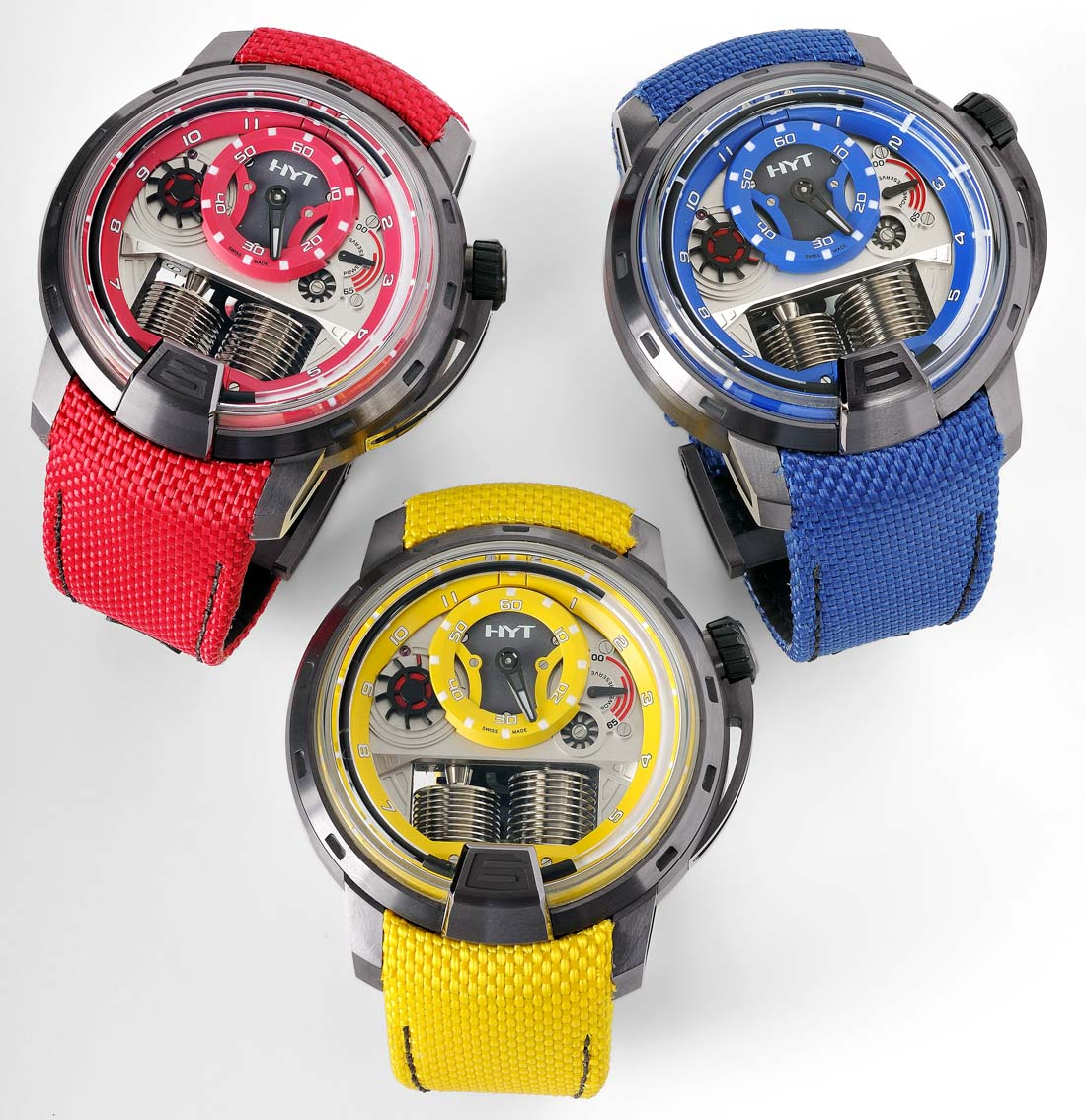 HYT Collection H1 Colorblock Montre Rouge Jaune Bleu