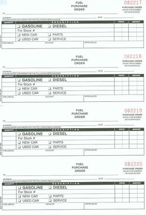 Fuel Purchase Order Book (NC-124-3FUEL), 3 pt - purchase order for services template