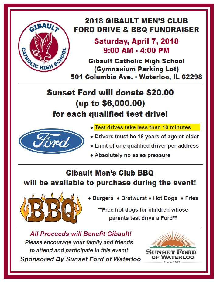 Gibault\u0027s Ford Drive  BBQ Fundraiser - City of Waterloo, IL - bbq benefit flyers