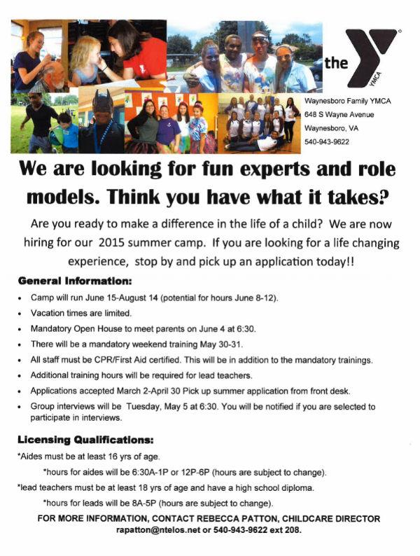 2015 Summer Camp Counselors Job Application - Waynesboro Family YMCA